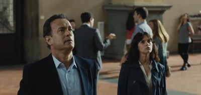 "Tom Hanks and Felicity Jones are looking for better things that what goes on in ""Inferno"" (Sony/Columbia Pictures)"