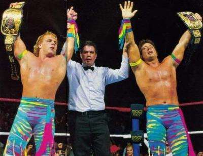 The Rockers briefly celebrated an ultimately unrecognized WWF Tag Team Championship victory in 1990. (WWE/metalinjection.net)